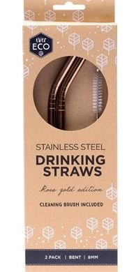 EVER ECO Stainless Steel Straws - Gold Bent Includes Cleaning Brush